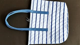 HOW TO MAKE SHOPPING BAG FROM OLD SHIRT || Beautiful Fabric Bag Making With Old Shirt