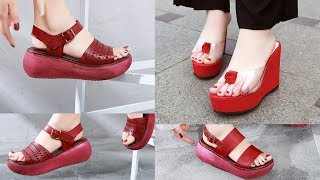LATEST COLLECTION OF RED SANDALS||Women 2020 Genuine Leather Red Footwears||#sbleo