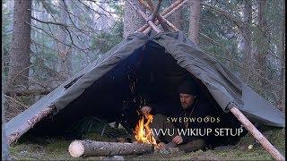 3 Lavvu Poncho Wikiup Setup - Bushcraft Bow Saw - Solo Overnight - Wood Repair