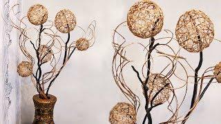 Как сделать декор для дома из веток и шаров из ниток