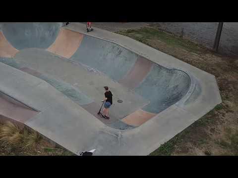 Scooter Tricks - Leeston Skatepark - A Drone's View