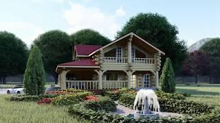 """Проект дома """"Идилия"""" 256,33 м.кв. из рубленого бревна в стиле """"Дикий сруб"""""""