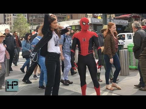 Tom Holland and Zendaya Filming Stunt Scene for Spider-Man: Far From Home in NYC