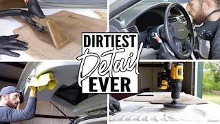 Complete Disaster Full Interior Car Detailing! Dirtiest Car Detailing Series Ep. 11