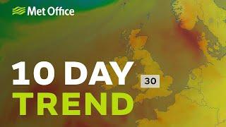 10 Day Trend - 30C heat on the way next week, with plenty of sunshine