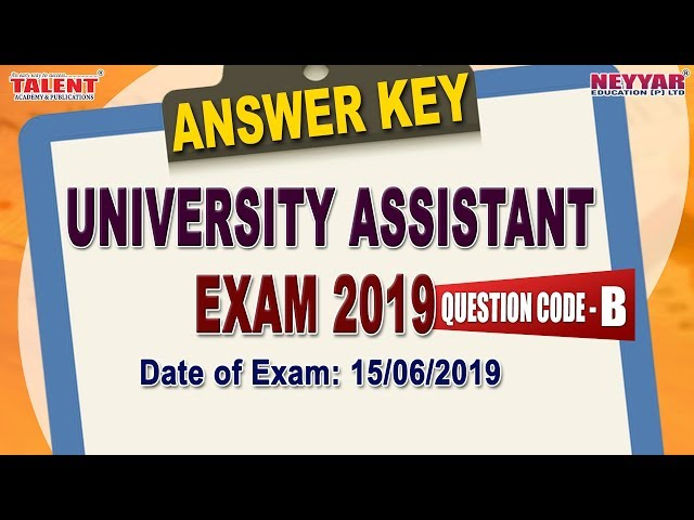 University Assistant Exam 2019 Full Answer Key