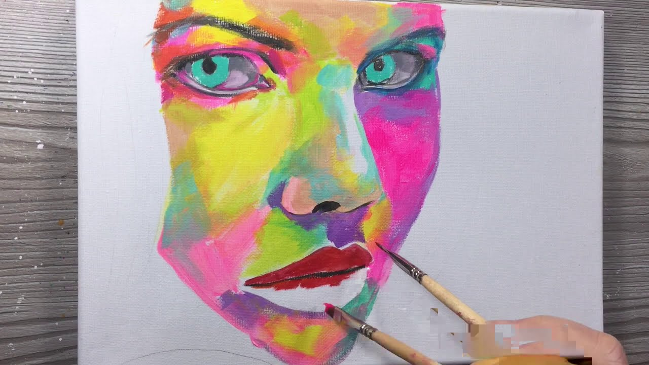 acrylic portrait painting on canvas by annac paints