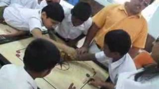 preview picture of video 'Blind sportspersons explaining Carrom board to Blind Boys'