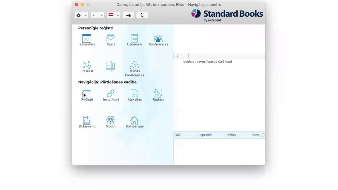 Pārdošanas vadība programmā Standard Books by Excellent