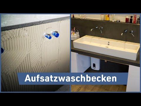 Aufsatzwaschbecken mit Großformatfliesen einbauen