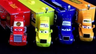 "Here's my trucks haulers from disney pixar cars mattel. This is Mack truck hauler, mood springs hauler, ""octane gain hauler"" and ""sidewall shine hauler"". All the haulers are made of plastic and the trucks made of diecast 1:55 scale, from Mattel toys.  Here's how Pixar Cars is called in other countries:  Arabalar, Auta, Auti, Automobili, Autod, Autot, Biler, Bilar, Carros, Mankanebi, Masini, Ratai, Тачки, Tachky, Verdák, カーズ ""Cars - Quatre roues"" ""Les Bagnoles"" ""Cars Motori ruggenti"" ""Les Bagnoles animées"" ""carros caminhões"" ""camion"" ""dessin animé"" e ""dibujos animados"" ""cartone animato"" ""carros caminhão"" ""汽車總動員 2"" ""Cars Motori Ruggenti"" ""Cars Quatre roues"" ""bujdy na resorach"" ""Złomka bujdy na resorach""  Great News! John Lasseter, the director of Cars has announced Pixar is working on a Cars3 film about town of Radiator Springs. No worries, i'll review all the future toys diecasts and playsets.  Play-Doh Transformers Autobot Workshop Playset by BluToys. https://www.youtube.com/watch?v=wZINpnFAiUA  Popin' Cookin' GUMMY BEARS おえかきグミランド Gummi-Land. https://www.youtube.com/watch?v=TG-qYSt4XiI  10-Cars Race Launcher World Grand Prix Speedway. https://www.youtube.com/watch?v=SHiq1-PP7c0  Monster Screaming Banshee Eating Cars Snot Rod Tunerz. https://www.youtube.com/watch?v=wWnWQcfAi1M  Monster-Truck Gear Up n go Lightning McQueen https://www.youtube.com/watch?v=oQiGfOjFpls  3PixarCars Funny Talkers Snot rod, Mcqueen & Mater. https://www.youtube.com/watch?v=DSf05hcY0BI  Pocoyo Swiggle Traks Motorized Juguete de Coches. https://www.youtube.com/watch?v=zV7xT77EX50  Pocoyo Circuit Race Track - Supercircuito Pista de Corridas. https://www.youtube.com/watch?v=bc8rjYUx-rs  4 Pocoyo Bath Toys Fun Traceables Loula Elly Elephant. https://www.youtube.com/watch?v=moZZChfsB6c  Pocoyo School Blocks Building Toys Similar to Lego Bloks. https://www.youtube.com/watch?v=ZsuMonsSTmY  Play Doh Pocoyo Superman Man of Steel - Plastilina. https://www.youtube.com/watch?v=bs4EeXlYJsk  T-Rex Takedown Dinosaur Chomposaurus Eats McQueen. https://www.youtube.com/watch?v=XMxcEk31RhU  Cars2 Klip-kitz Juguete de coches Quebra-Cabeças. https://www.youtube.com/watch?v=aB5lldORdnU  Check out DisneyCollector Toychannel about DisneyPlayDoh at: http://www.youtube.com/DisneyCollectorBR  Assista Brinquedos e Bonecas Princesas Disney em portugues. https://www.youtube.com/user/brdisneycollector"