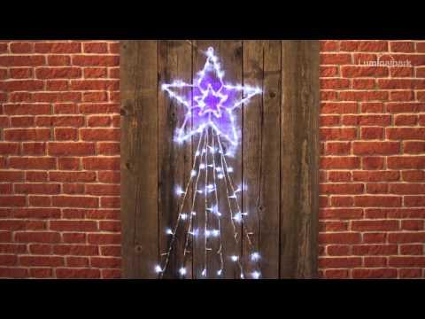 Acryl-Stern mit 6 Strängen-Schweif, 150 LEDs kaltweiß&blau (Code 33030)