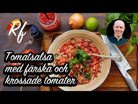 Tomatsalsa på färska och krossade tomater med färsk koriander, lök och chili.  En god hemgjord salsa till texmexbuffé, tacomys och mexikansk mat .>