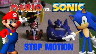 Mario vs. Sonic Kart Racing Stop Motion