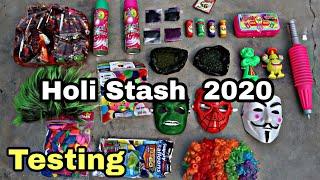 HOLI STASH 2020 || TESTING - COLOURS, PICHKARI, SPRAY, BALLOONS... 😍😍