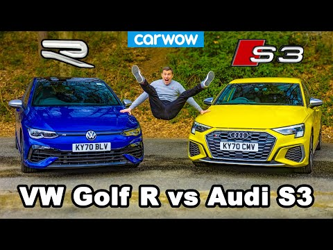 VW Golf R v Audi S3 - review & 0-60mph, 1/4-mile and brake comparison!