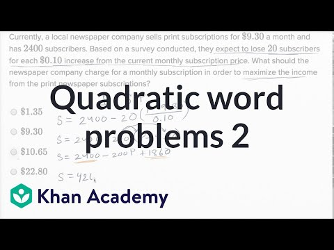 Quadratic and exponential word problems — Harder example