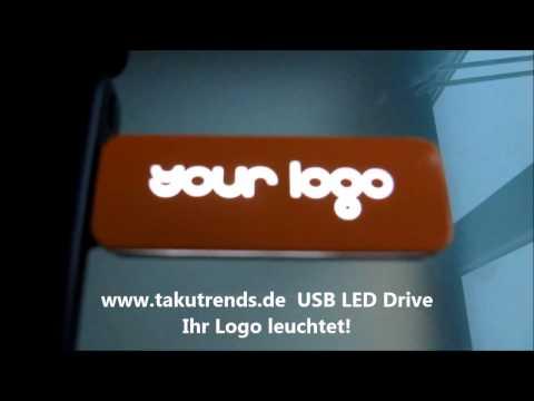 Leuchtender USB Stick mit Logo Gravur als Werbeartikel günstig
