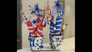 4th of July Decoration DIY Dollar Tree/Memorial Day Centerpiece Table decoration tutorial