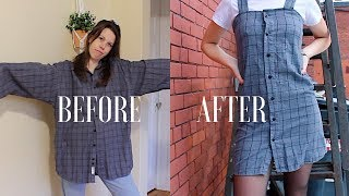 DIY   Upcycle Men's Button Up Shirts -- Ep. 2: Dress (Urban Outfitters Style)