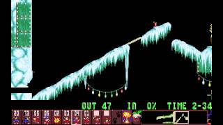 preview picture of video 'Holiday Lemmings 1993 - Flurry Level 16: The Long Way Around (1993) [MS-DOS]'