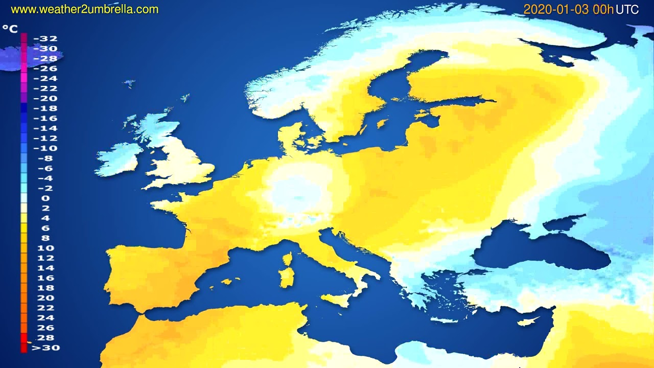 Temperature forecast Europe // modelrun: 00h UTC 2020-01-02