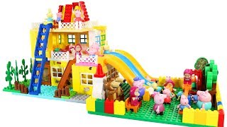 Peppa Pig Blocks Mega House Construction Sets With Water Slide Lego Toys For Kids #1