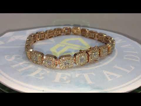 Exclusive 10K Round & Baguette Diamond Tennis Bracelet