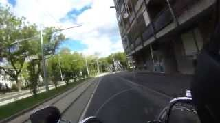 preview picture of video 'Video tour on a motorcycle in the city of Debrecen, Hungary. Harley Davidson Softail Heritage FLSTC.'