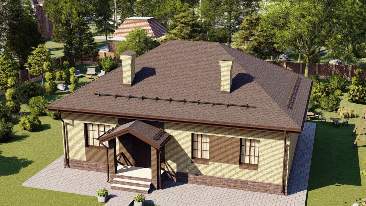 Одноэтажный дом из газобетона 110 кв м