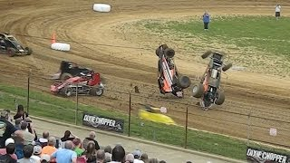 SPRINT CARS at Lincoln Park Speedway - Massive Crashes and Close Dirt Track Racing