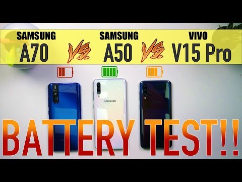 Samsung A70 vs Samsung A50 vs V15 Pro: Battery Charging / Drain Test | PUBG Heating Test