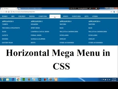 video tutorial on how to create a horizontal mega menu in css?