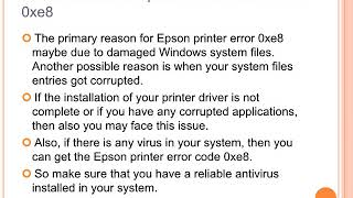 Steps to fix Epson Printer error code 0xe8