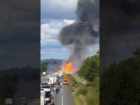 Explosie gasflessen N10 in Chevanceaux (Charente-Maritime)