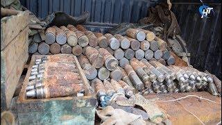 На специальном полигоне в Батецком районе уничтожили около 300 снарядов времен Великой Отечественной