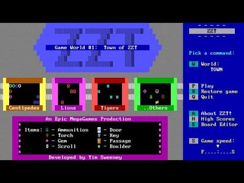ZZT gameplay (PC Game, 1991)