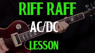 "how to play ""Riff Raff"" by AC/DC - guitar lesson rhythm"