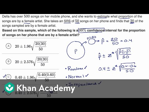 Example constructing and interpreting a confidence interval for p