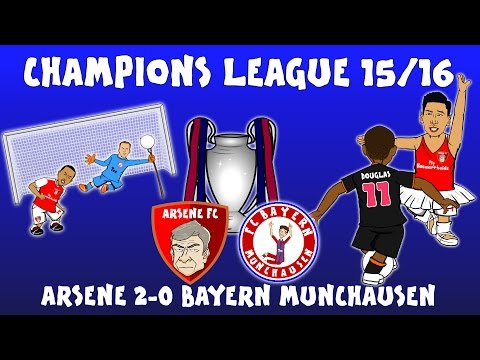 Arsenal 2-0 Bayern Munich (Champions League 2015/16 parody highlights and goals Ozil Giroud Costa)