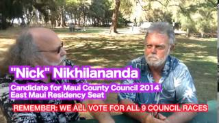 NIKHILANANDA 2014 Council candidate Maui sits with Jason Schwartz