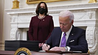 video: Previous three presidents wish Joe Biden well on first day in Oval Office, as he signs 17 executive actions - latest news