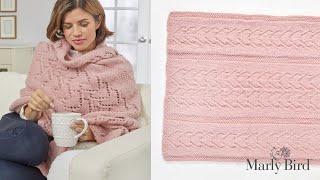 Knit Lace Shawl || Warming Hearts Sofa Shawl || Free Knit Shawl Pattern