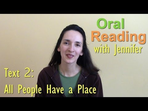 "Oral Reading Fluency 2: ""All People Have a Place"""
