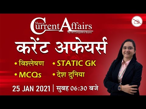 Master in Current Affairs | MCQ | By Chandni Mahendras | 25 Jan 2021 | Daily Current Affairs 2021