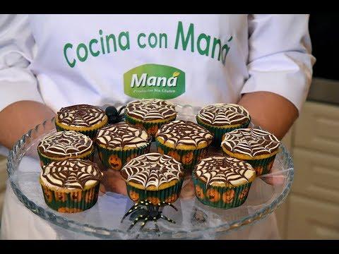 Cupcakes de calabaza sin gluten decoradas especial Halloween