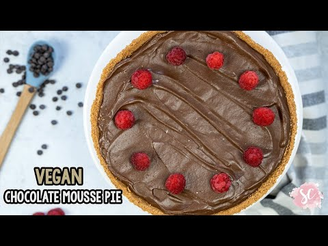 VEGAN Chocolate Mousse Pie | 4 INGREDIENT MOUSSE | GF, No added oil, No added refined sugar |