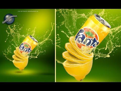 poster design fanta using adobe photoshop