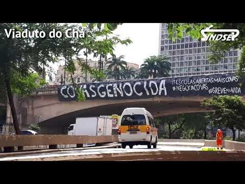 Greve pela Vida | Trabalhadoras/es realizam faixaço de protesto a governo Covas em Dia Mundial da Educação