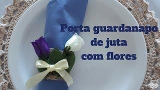 Porta Guardanapo De Juta Com Flores